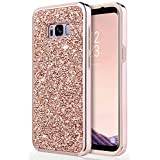Galaxy S8 Case, Samsung Galaxy S8 Case, UrbanDrama Crystal Sparkly Rhinestone Dual Layer High Impact Shockproof Hard PC Soft TPU Bumper Anti-Slip Protective Case Cover for Samsung Galaxy S8, Rose Gold