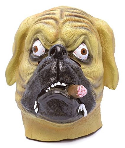 Adult Rubber Bulldog Mask With Cigar Halloween Costume Fancy Dress Outfit