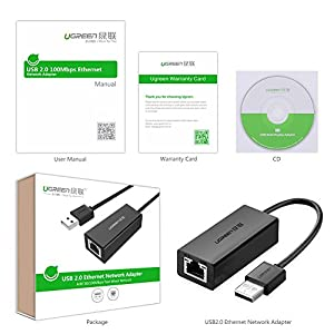 Ugreen USB 2.0 to 10/100 Fast Ethernet Lan Wired Network Adapter for Macbook, Chromebook, Windows 10, 8.1 and Earlier, Mac OS X 10.11,Surface Pro, Wii, Wii U, Linux ASIX AX88772 Chipset Black