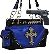 Blue Cross Conceal and Carry Purse with Rhinestones
