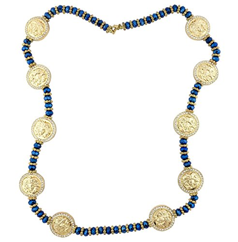 """Iced Out 33"""" Gold & Blue Versace Medusa Head Medallion Chain Necklace"""