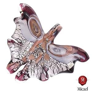 "big Murano Glass Butterfly ""Farfalla"" Pendant-lila silber: Jewelry"