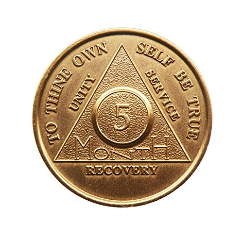 5 Month Bronze AA (Alcoholics Anonymous) - Sober / Sobriety / Birthday / Anniversary / Recovery / Medallion / Coin / Chip - 1