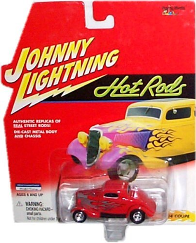 Johnny Lightning - Hot Rods - 1934 Coupe (Red with Silver/Gray Flames) Replica