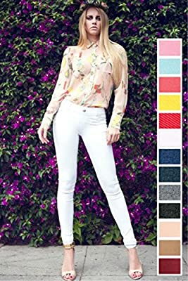Fashion Mic Womens Pull On Cotton Blend Color Jeggings
