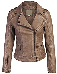 Kogmo Women's Faux Leather Zip Up Eve…