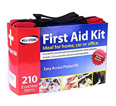 Well-Strong First Aid Kit 210 Pieces with Durable and Compact Canvas Bag for Home, Car, School, Sports, Travel, Survival, Outdoor Hiking and Camping by HANGZHOU AOSI HEALTHCARE CO.,LTD.