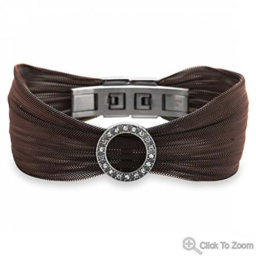 Chocolate Tone Stainless Steel Mesh Bracelet With Open Crystal Circle