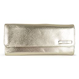 Kenneth Cole Reaction Womens Saffiano Clutch Wallet Trifold W Coin Purse (CHAMPAGINE)