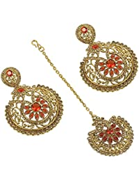 Gorgeous Crystal Made Orange Color Chandelier Style Gold Plated Earring With Maang Tikka For Women