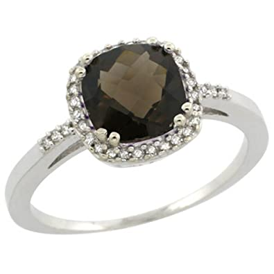 Revoni Sterling Silver Smoky Topaz And Diamond Ring, Cushion Cut Stone (7 mm)