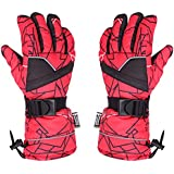 GWELL Adjustable Toggle Zipped Pocket Thermal Waterproof Pro Ski Gloves