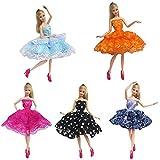 FairyStar Beautiful Fashion Ballet Skirt Dress Set for Barbie Doll Girls' Birthday Gift (5 Kind Style,Style Random)