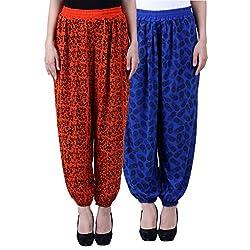 NumBrave Printed Viscose Orange & Blue Harem Pants (Pack of 2)
