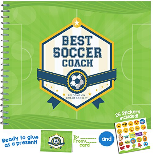 """SOCCER COACH GIFT - Unconditional Rosie """"Best Soccer Coach"""" Recognition Award Booklet with Matching Card and Emoji Stickers"""