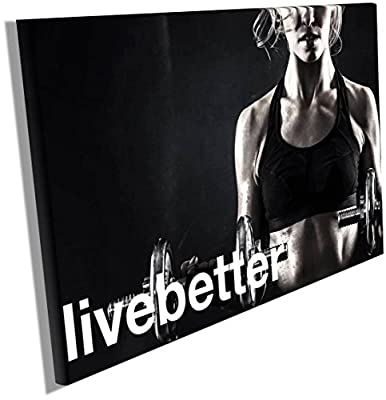 Fitness Motivation Posters Inspiration Quotes on Canvas Wall Hangings Decals Workout Bodybuilding Poster Wood Framed Waterproof size 12x18 inches CGmO54