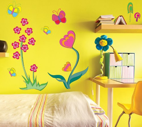 FunToSee Funky Flower Girls Nursery and Bedroom Wall Decals, Flower - 1