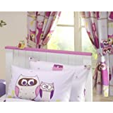 """HOOT OWLS GIRLS LUXURY FULLY LINED CURTAINS SET 66"""" X 72"""" MATCHES DUVET - LILAC"""