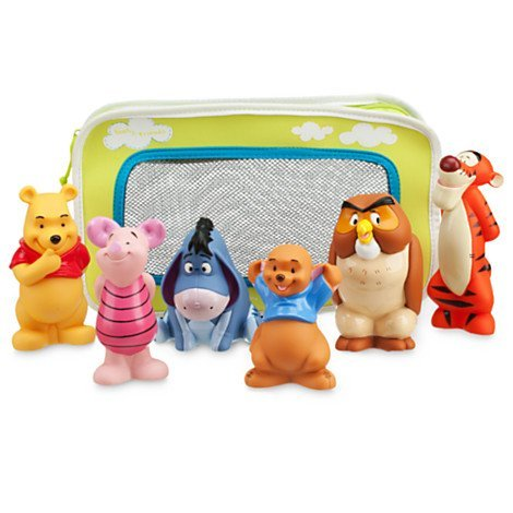 Winnie the Pooh and Pals Bath Toy Set in Zipped Bag - Winnie the Pooh, Tigger, Eeyore, Piglet, Owl, and Roo - 1