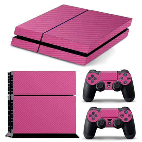 ps4-textured-pink-carbon-fibre-skin-wrap-cover-decal-cover-for-sony-playstation-4-2x-matching-contro