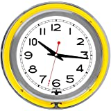 "Trademark Gameroom Yellow Chrome Double Ring Neon Clock, 14"""