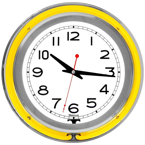 Trademark 14-Inch Double Ring Yellow Outer White Inner Neon Clock