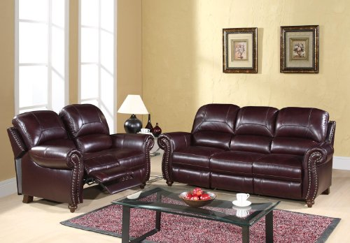 Leather Pushback Reclining Sofa and Loveseat
