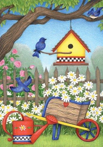 Toland Home Garden Birdhouse Daisies Garden Flag 110077
