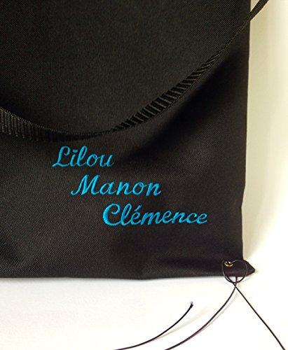Dea-concept sac à pousette universel 35x50cm noir imperméable fait main lanière amovible broderie nom au choix