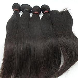 Lanova Beauty 4Bundles+1Closure Grade 6A Malaysian Human Hair Extensions Silky Straight Real Hair Extensions 4Pcs16