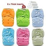 iZiv(TM) Recién Nacido Orgánico con 6 Insertos Gruesos Infantil Impermeable/Ajustable/Reutilizable/Lavable Pañal de Tela de Bolsillo aptos Bebés 0-3 años(Color-3)