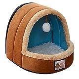 ペットハウス ドーム型 猫犬 室内用 中敷き付き ジッパー設計 通風可能 ペットベッド 2サイズ 5色【Justgreat】 (S, ブラウン)