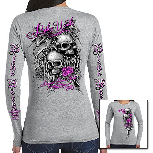 Biker Life USA Women's 2015 Bike Week Skulls Long Sleeve Shirt