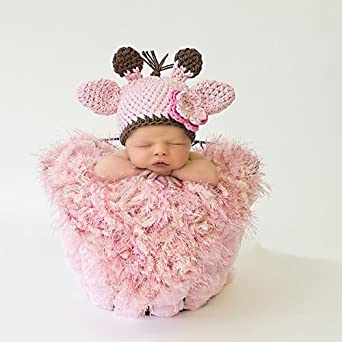 Amazon.com: Pink Baby Girl Newborn Crochet Knitted Giraffe