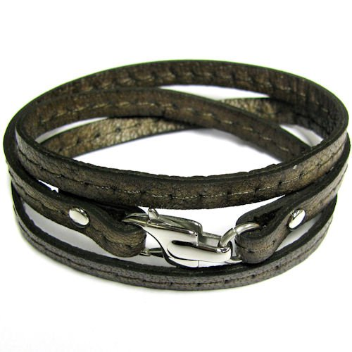 Stainless Steel 3 Rounds Dark Brown Flat Leather Cord 5.6mm Bracelet 7.5'' With Lobster Clasp