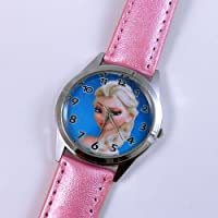 Princess Elsa Frozen Pink Watch Disney Kids Leather Band