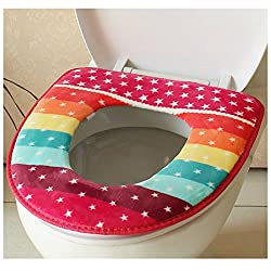 Winter Toilet Seat Warmer Coral fleece Thicken Carpet Toilet Seat Cover Soft Comfortable Baby Potty Seat Overcoat Toilet Case(Color:Random)