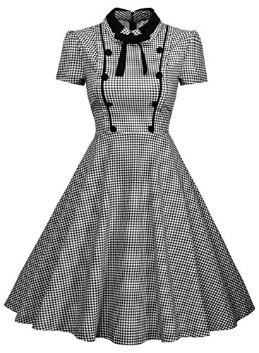 Missmay Women's Elegant Vintage 1940's Short Sleeve Plaid Swing Dress,Gray,X-Large