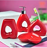 Red Heart - 4 Piece Set Ceramic Bathroom Accessory,Luxury Decor,Elegant Designing Bathrooms,Wedding Gifts,Soap Dispenser/Toothbrush Holder/1 Bathroom Tumbler/Soap Dish