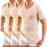 HERMKO 16488 3er Pack Herren Business Shirt mit V-Neck aus Baumwolle / Modal, Größe:D 5 = EU M, Farbe:cream (hautfarben)