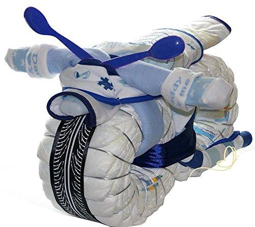 windeltorte motorrad blau rockstar geschenk zur geburt taufe und babyparty f r junge. Black Bedroom Furniture Sets. Home Design Ideas
