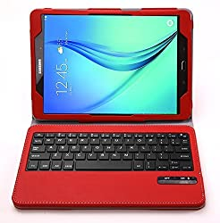Galaxy Tab A 9.7 Keyboard case, IVSO®Ultra-Thin High Quality DETACHABLE Bluetooth Keyboard Stand Case / Cover for SamSung Galaxy Tab A SM-T550NZWAXAR 9.7-inch Tablet (Red)