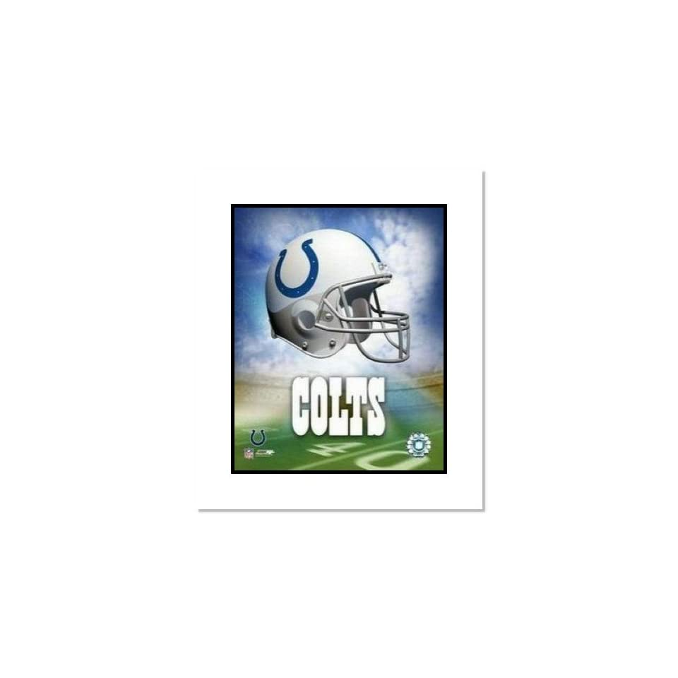 Indianapolis Colts NFL Team Logo and Football Helmet Collage Double Matted 8 x 10 Photograph