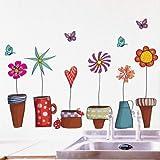 Topf Anlage Blume Schmetterling Natur Lieblich Fenster Handdrawing Abziehbilder Vinyl
