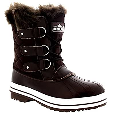 Womens Snow Boot Nylon Short Winter Snow Fur Rain Warm