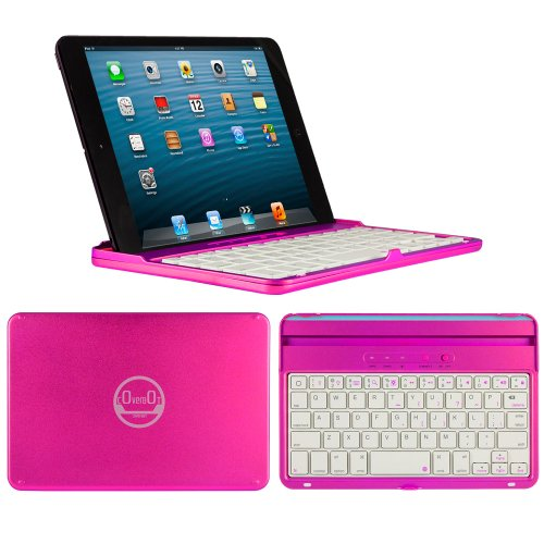 Coverbot Ipad Mini & Ipad Mini With Retina Display Keyboard Case And Stand Hot Pink - Aluminum Bluetooth Keyboard Case With Integrated Ios Command Keys For Ipad Mini & Ipad Mini With Retina Display