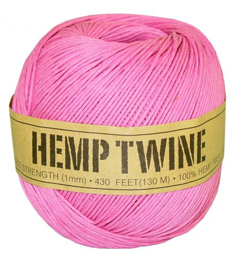 Pink Hemp Twine - 20 LB. Test - 1mm - 430 Feet - 100g - 100% Hemp Fibers