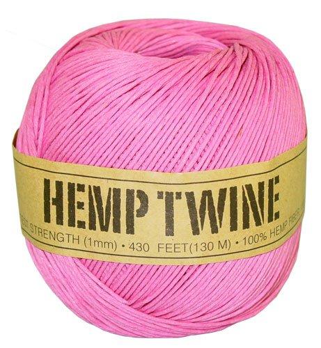 Pink Hemp Twine - 20 LB. Test - 1mm - 430 Feet - 100g - 100% Hemp Fibers