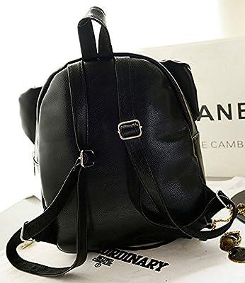 Women Ladies Backpack Fashion Shoulder Bag Rucksack Vintage PU Leather Travel SchoolBag (!!black-26*14*36)