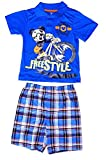 Disney Mickey Mouse Freestyle Baby Boys Polo Shirt and Plaid Short Outfit - Blue